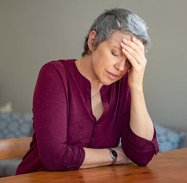 Frau in Sorgen